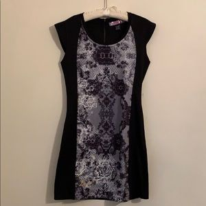 Desigual black dress with black and white front